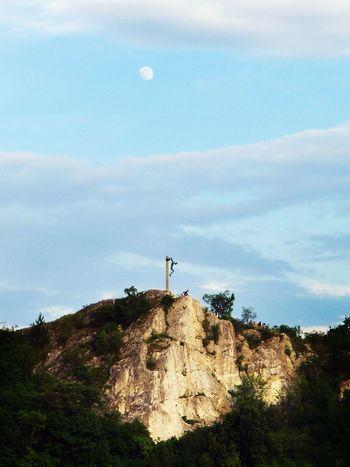 Moon Sky Moon Landscape Outdoors Crucifix Rock - Object Day Summicron Leicadlux5 Leicaphoto