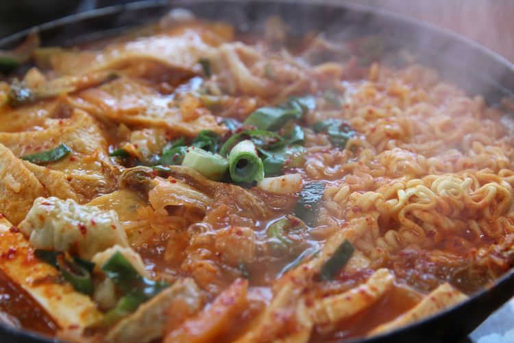Close up of Korean Army Stew (Budae Jjigae) hot pot at Korean restaurant, Busan, South Korea Budae Jjigae Food And Drink Korean Food Lunch South Korea South Korea🇰🇷 Spicy Food Busan Close-up Day Food Food And Drink Freshness Healthy Eating Indoors  No People Ready-to-eat Restaurant Vegetable