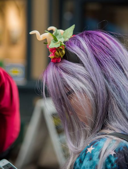 Girl, purple hair, costume for festival fun. Eyemcaptured Eyem Best Shots Eyemphotography Festival Headband Purple Hair Real People Focus On Foreground Rear View Women Lifestyles Fashion Day One Person Outdoors Dyed Hair Close-up People