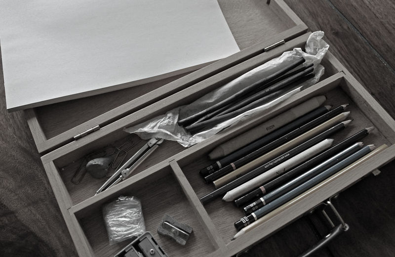 Art Supplies Sketchpad Art Materials Blackandwhite Photography Close-up Day Group Of Objects Hand Tool High Angle View Indoors  No People Wooden Box