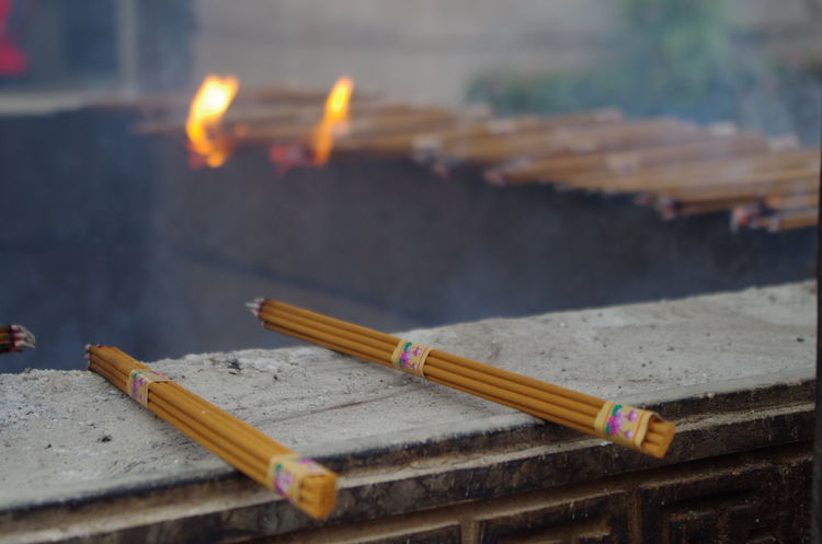 Jing'an Temple Buddhism Burning Close-up Day Flame Focus On Foreground Incense Sticks Indoors  No People Religion Religious Place Spirituality