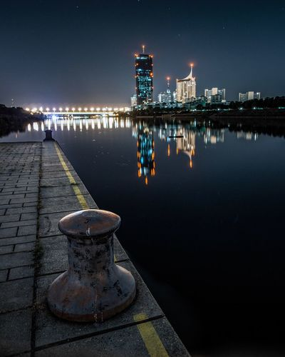 Everything's better at night Night Illuminated Water Architecture Built Structure Building Exterior Reflection Pier Sky Outdoors No People Harbor Lake Lighthouse Beauty In Nature Clear Sky Nature City