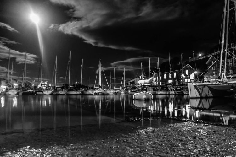 Monochrome Photography Harbour Porthmadog Nightphotography Illuminated Water Sailboat Night Mast Sky