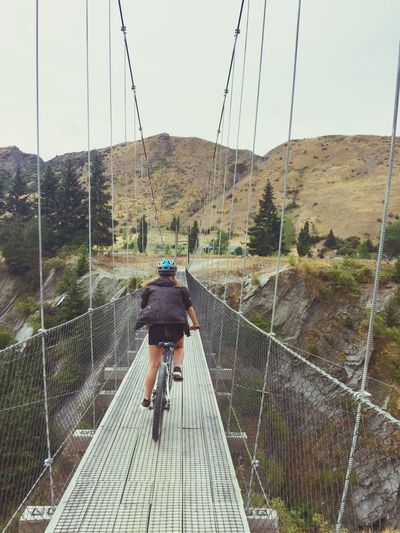 Trip Bike Bikecycle 20km Wine Travel New Zealand Nature Green Trees Bridge Sky Me