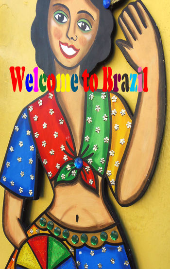 Brazil Poster Waving Welcome To Brazil Lovely Woman Multi Coloured Slim Waste Tied Scarfs Tummy Button