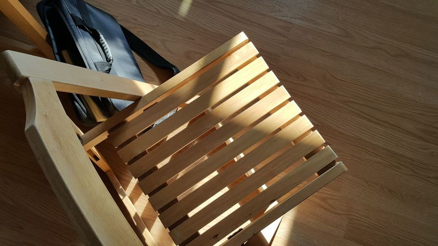 Morning Sun light through the window. Alone Architecture Bench Chairs Close-up Day Furniture High Angle View Indoors  Morning Light No People Pattern Porch Shadows Spiral Spiral Staircase Staircase Steps And Staircases Sun Light Sun Light Through Window Sun Shine Water Wood - Material Wooden Chair Working
