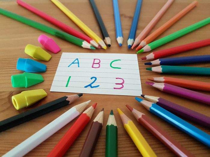 Kindergarten Elementary Age Numbers Letters ABC Learning Teachers Teaching Education Fun Smart Students Kids School Year Drawing 1⃣2⃣3⃣ EyeEm Selects Student Child Crayon Multi Colored Childhood Learning Desk Organizer Education Pencil Shavings Back To School Eraser School Supplies Colored Pencil