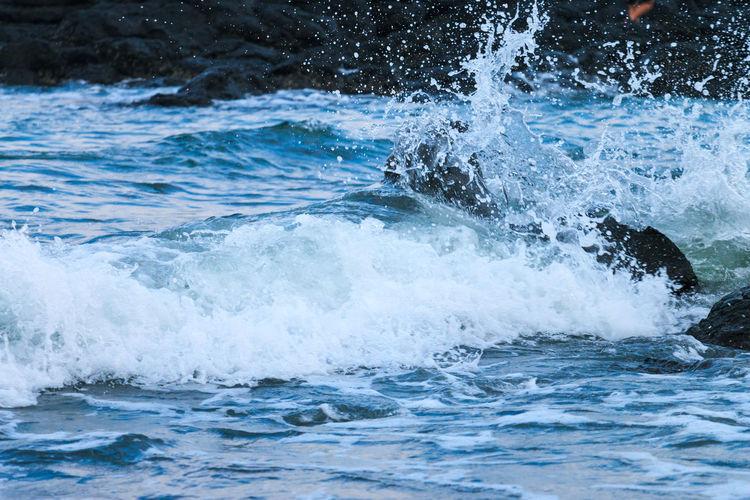 Waves Breaking On Coast
