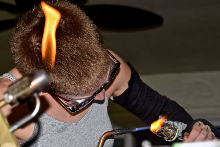 Glass Blowing #glassart #glassblowing Art Concentration Creativity Creativity Has No Limits Entrepreneur Flames Girl Power Glass Artist Glass Artistry Glass Artwork Glass Blowing Hand Made Handmade Heat Skill  The Innovator