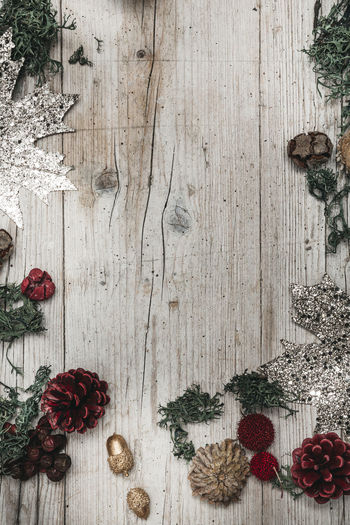 autumnal gray wood background with decoration Berry Fruit Celebration Christmas Christmas Decoration Christmas Ornament Decoration Food Food And Drink Freshness Fruit Healthy Eating Holiday Indoors  No People Pine Cone Plant Spice Still Life Table Tree Wood - Material