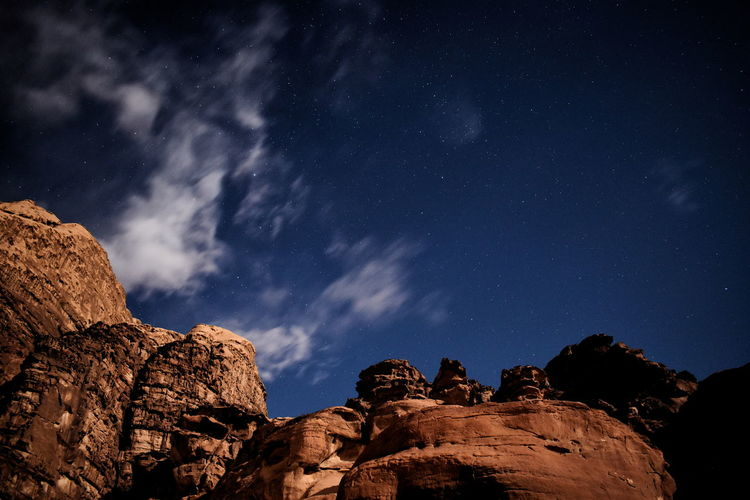 Low Angle View Of Rocks Against Sky At Night