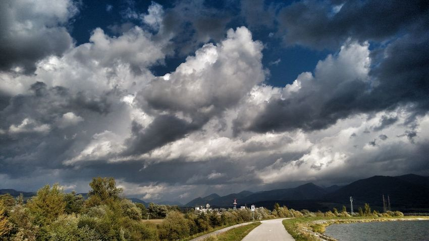 Dramatic Sky Road Way Forward Landscape Dam Tree Mountain Storm Cloud Rural Scene Dramatic Sky Sky Landscape Cloud - Sky