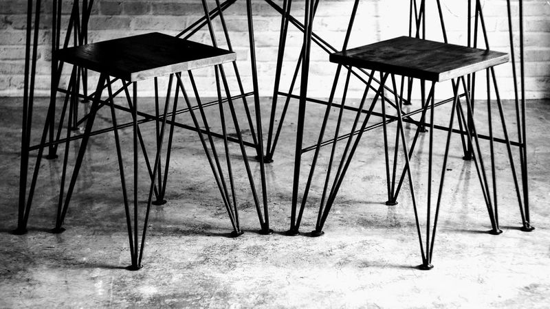 Wire leg Black And White Photography Chairs And Tables Stool Furniture Design Loft Style Loft Design Loft Furniture Iron Furniture Coffee Time Coffee Shop Furniture Background Wallpaper No People