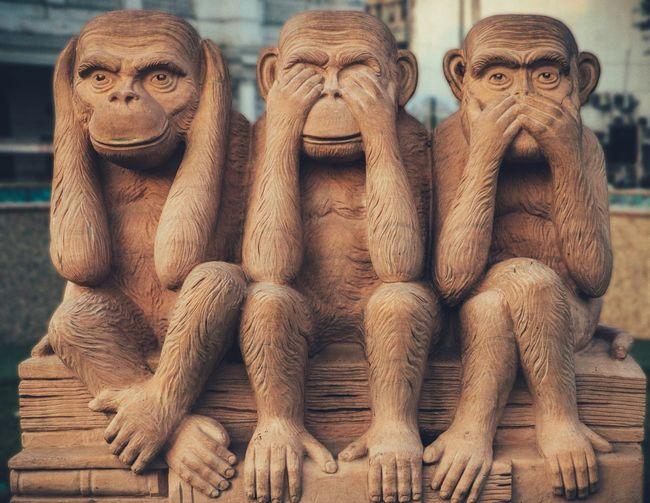 The Three Monkeys Monkey No People Ape Statue Sculpture Animal Themes Animal Wildlife Outdoors