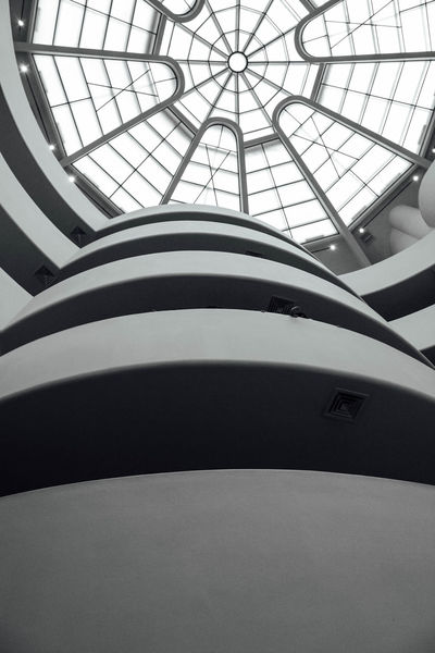 Architectural Design Architectural Feature Architecture Architecture Building Built Structure Ceiling Circle Curve Day Design Directly Below Full Frame Glass - Material Guggenheim Indoors  Low Angle View Modern New York City No People Office Building Repetition Skylight Tall - High Transparent