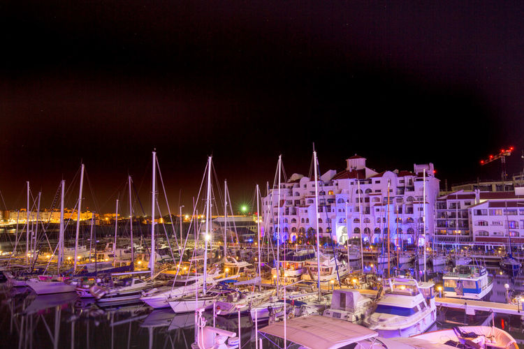 View from the Sunborn Yacht at night overlooking the Ocean View Harbour Boat Gibraltar Illuminated Mode Of Transport Moored Nautical Vessel Night View Nightphotography Ocean View Ocean_village Sea Sky Water Gibraltar And Sea Scenic View Showcase April Landscape_Collection