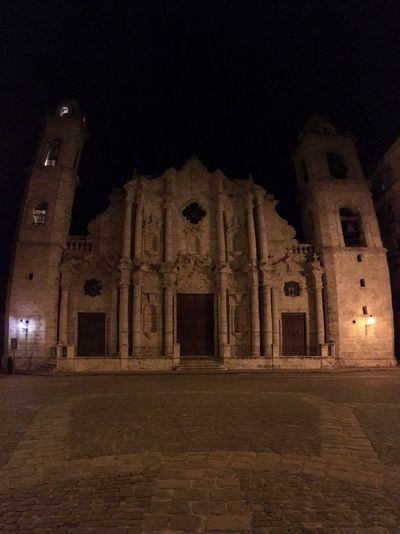 Havana Cathedral Architecture Built Structure Spirituality History Religion Night Tourism Place Of Worship Illuminated Building Exterior Travel Destinations Old Ruin Travel Ancient No People Clear Sky Outdoors Ancient Civilization Sky