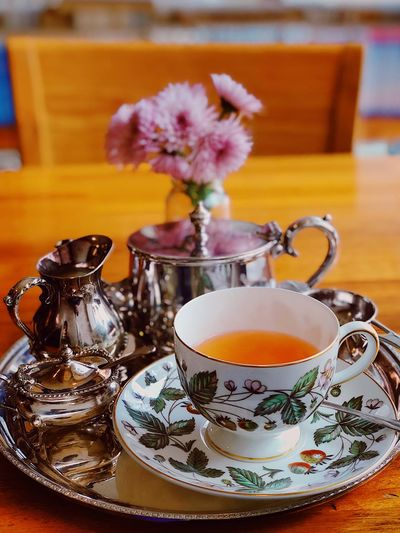 Teatime Black Tea Flower Table Indoors  Saucer Refreshment Food And Drink Tea - Hot Drink Teapot Healthy Eating Close-up Freshness