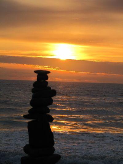 Balance Sunset Sea Silhouette Beach Beauty In Nature Cloud - Sky Scenics No People EyeEmNewHere