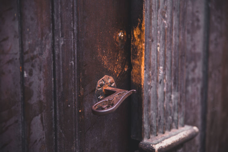 Close-Up Of Rusty Metal Doorknob
