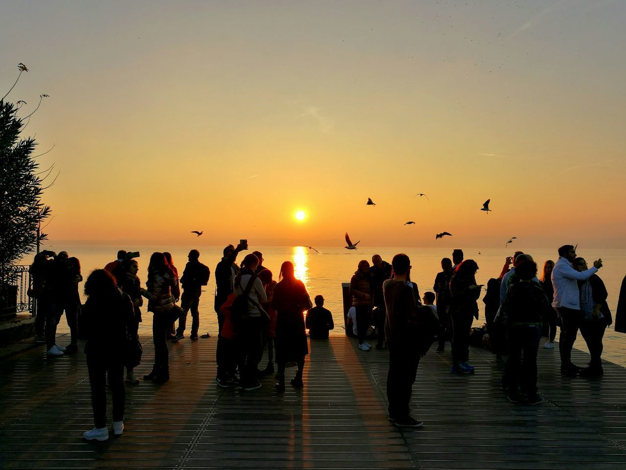 sunset, large group of people, sky, silhouette, flying, leisure activity, water, men, togetherness, lifestyles, real people, enjoyment, sun, women, nature, outdoors, sea, clear sky, crowd, beauty in nature, bird, people