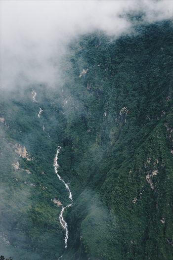 Aerial view of tiger leaping gorge in valley