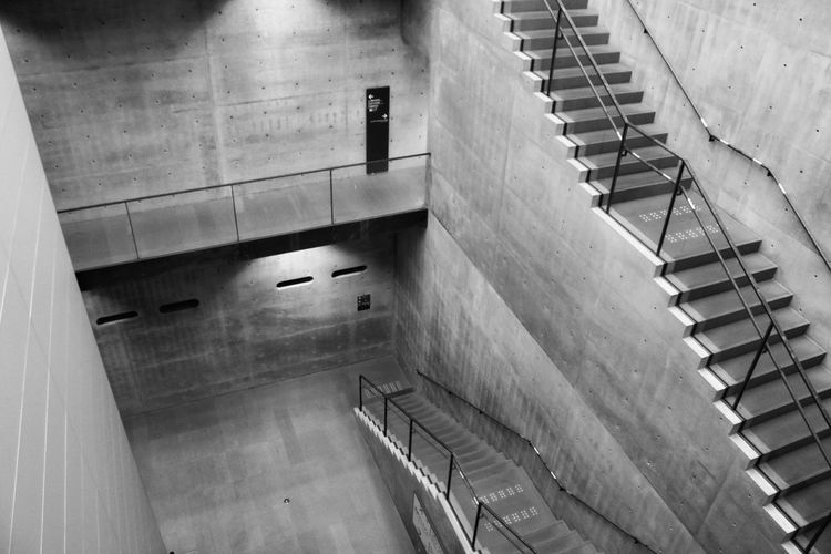 Monochrome Concrete Shadow Tadao Ando #kobe Architecture Staircase Steps And Staircases Railing Built Structure High Angle View Wall - Building Feature Wall Building Indoors  First Eyeem Photo