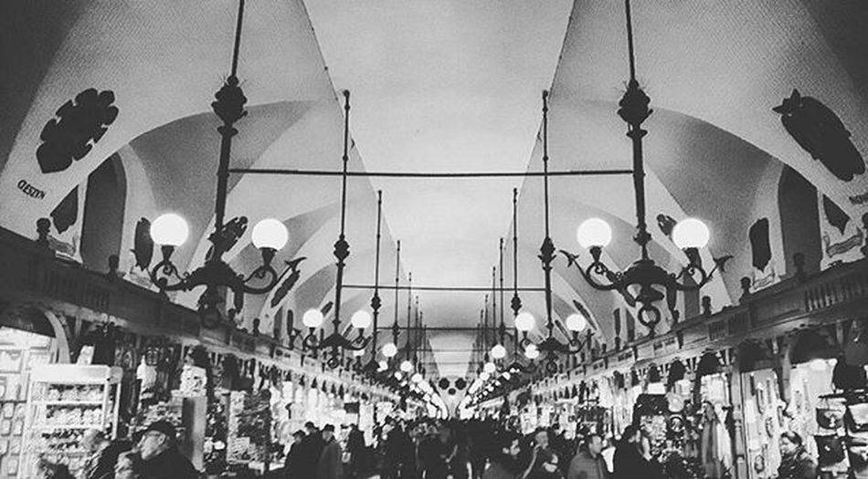 Cracow Sukiennice Blackandwhite Black White Lights Lamps Ceiling Krakow Krakow Czarny Biały Lampy