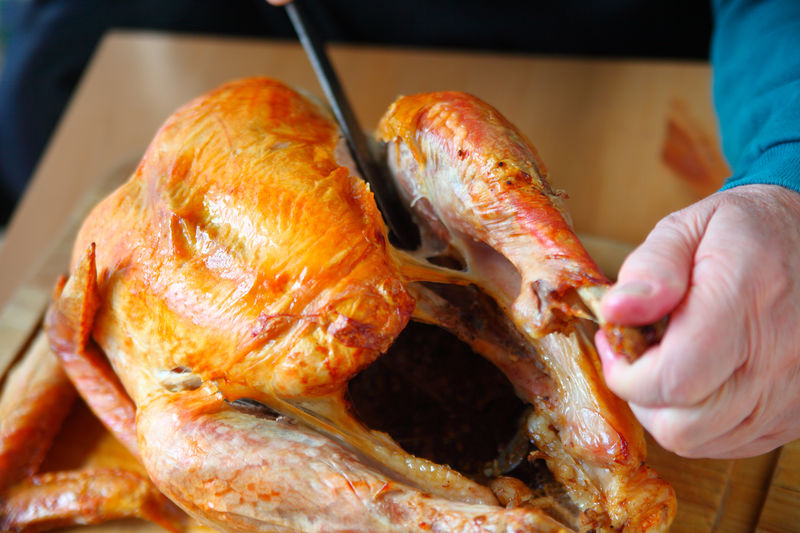 Carving leg of Thanksgiving turkey Food Meat Hand Freshness Roasted Indoors  Holding One Person Preparing Food Thanksgiving Holiday Food Fingers Poultry Studio Shot Kitchen Knife Man Kitchen Skill Main Course Tasty Homemade Food Home Cooking Natural Light