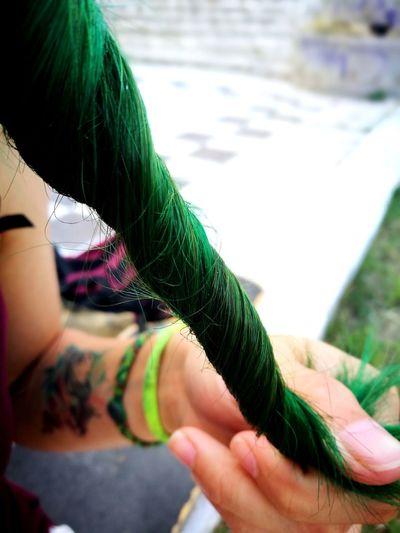 Hair Tattoo ❤ Tattoo Girl Watercolor Planet Green Hair