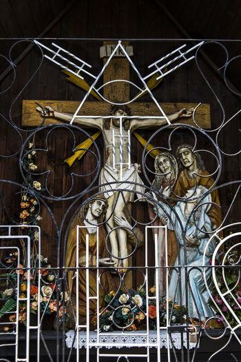 Roadside church in Poland Art Church Creativity Crucifixion Day Design Full Frame Holy Icon Jesus Multi Colored Ornate Pray Religion Religious