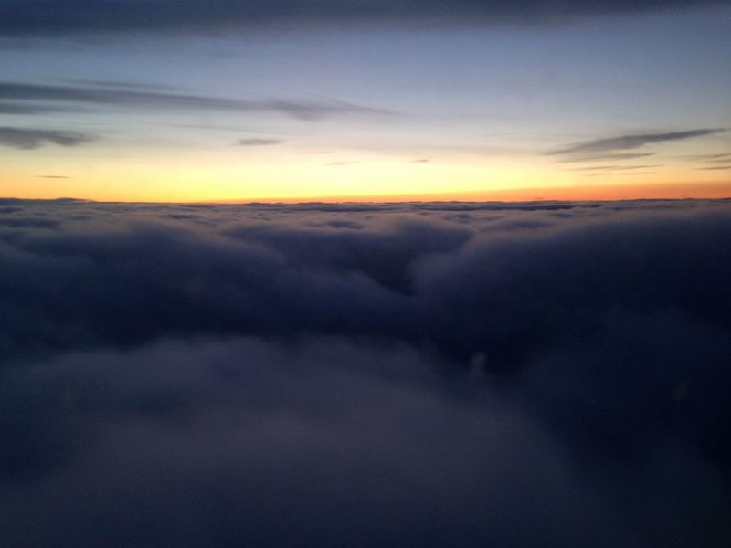 From An Airplane Window Clouds And Sky Sunset