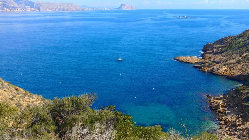 lonely ship Mussels Farm Ship Peñon Ifach Penyal D'ifac Faro De Albir Sea Water Nature Blue No People Outdoors High Angle View