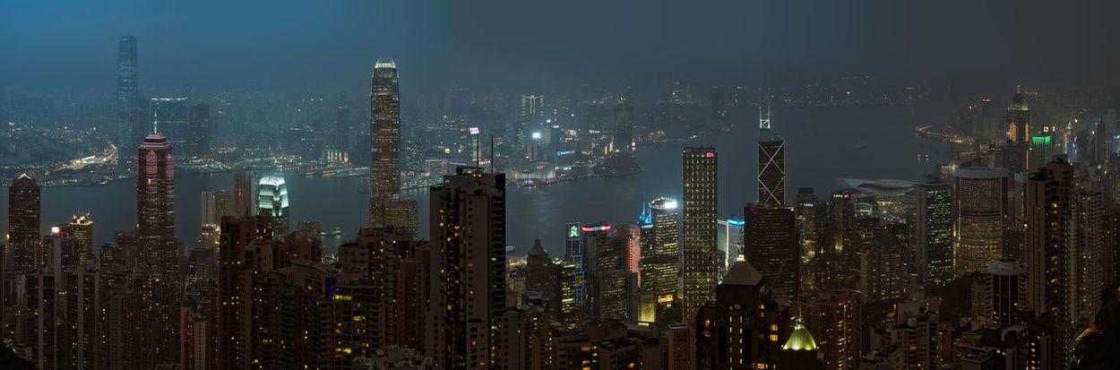 Extremely detailed skyline of Hong Kong. Aerial Shot Harbor Harbour Hong Kong HongKong Landscape Photography Lost In Translation M.Zuiko 45mm 1:1,8 Night Photography Olympus OM-D E-M5 Mk.II Panorama Skyline Skyscrapers Aerial Photography Aerial View Bay Blue City Lights Fog Megacity Neon Lights Skyscraper 香港