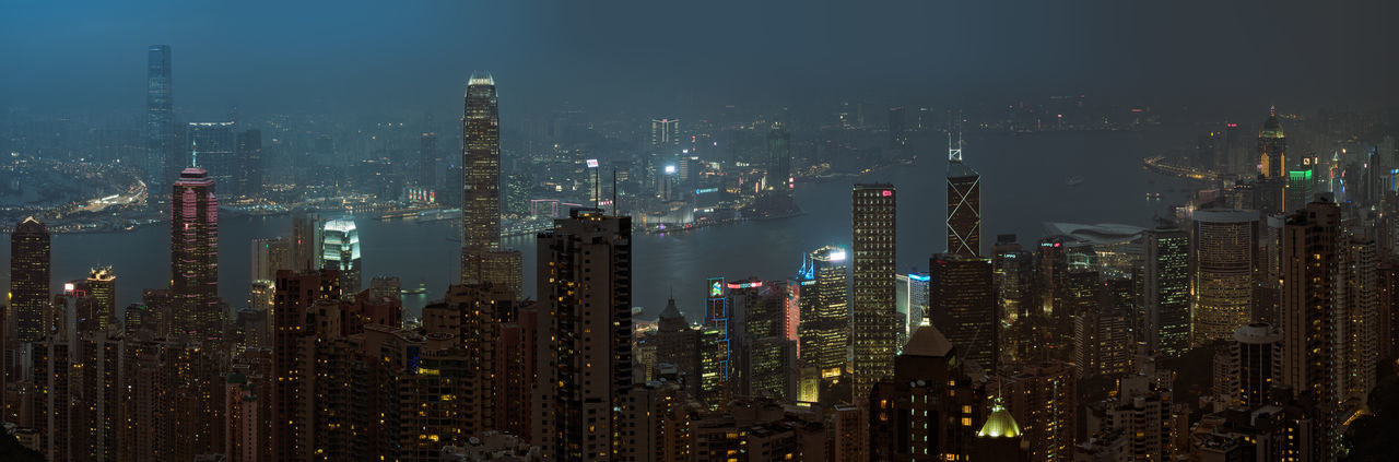 Extremely detailed skyline of Hong Kong. Aerial Shot Harbor Harbour Hong Kong HongKong Landscape Photography Lost In Translation M.Zuiko 45mm 1:1,8 Night Photography Olympus OM-D E-M5 Mk.II Panorama Skyline Skyscrapers Aerial Photography Aerial View Bay Blue City Lights Fog Megacity Neon Lights Skyscraper 香港