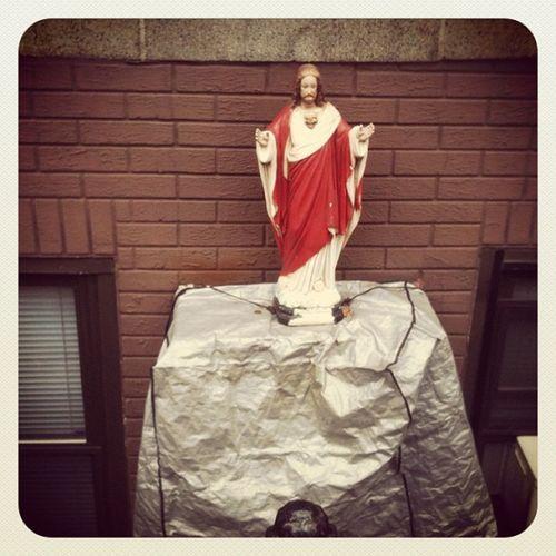 Jesus guarding the air-conditioner