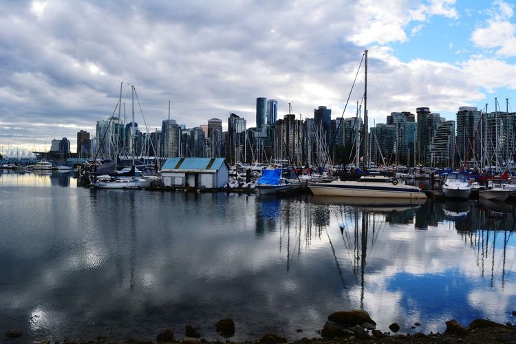 Stanley Park Kanada Canada British Columbia Travel Destinations City Vancouver Vancouver BC Stanley Park Skyline Vancouver Skyline Reflection Sailing Ship Water Nautical Vessel Tall Ship Yacht Harbor Sea City Moored Cityscape Water Vehicle Waterfront Boat Dock Port Ocean