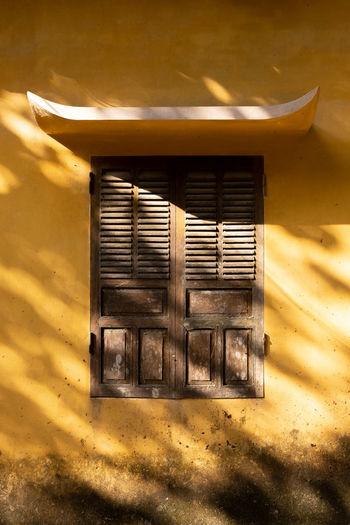 Sunlight falling on window of building