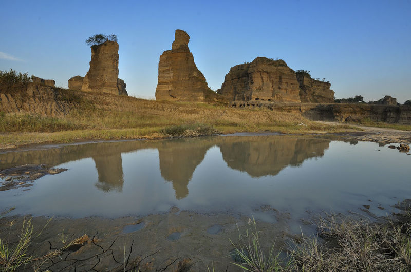 Reflection Of Rock Formation In Water Against Sky