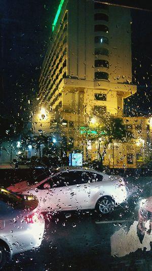 Bangkoknight Bangkok City Bangkokcity Bangkok Of City กรุงเทพฝนตก Bangkok Thailand. Rain City Illuminated Water Land Vehicle Car Car Wash Drop Wet Window Close-up