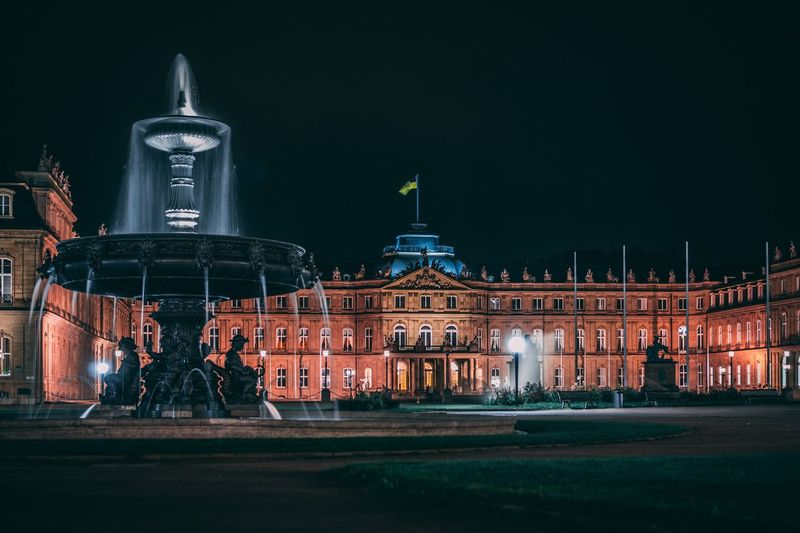 Neues Schloss Fountain Schlossplatz Stuttgart Nightshot Night EyeEm Selects Architecture Built Structure Building Exterior Illuminated City Travel Destinations Building No People Tourism Outdoors EyeEmNewHere EyeEmNewHere