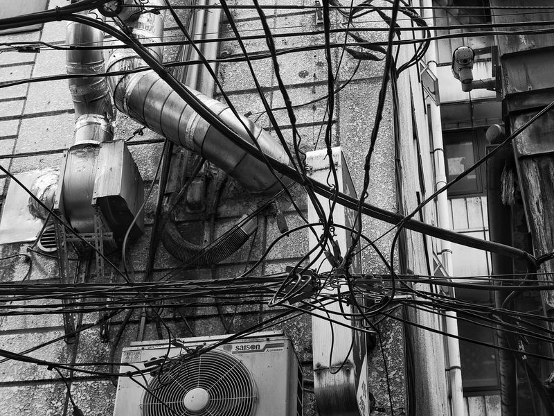 Built Structure Architecture Cable Building Exterior Complexity No People Electricity  Power Line  Streetphotography_bw B&w Street Photography CityWalk City Kanda 神田 Tokyo Japan