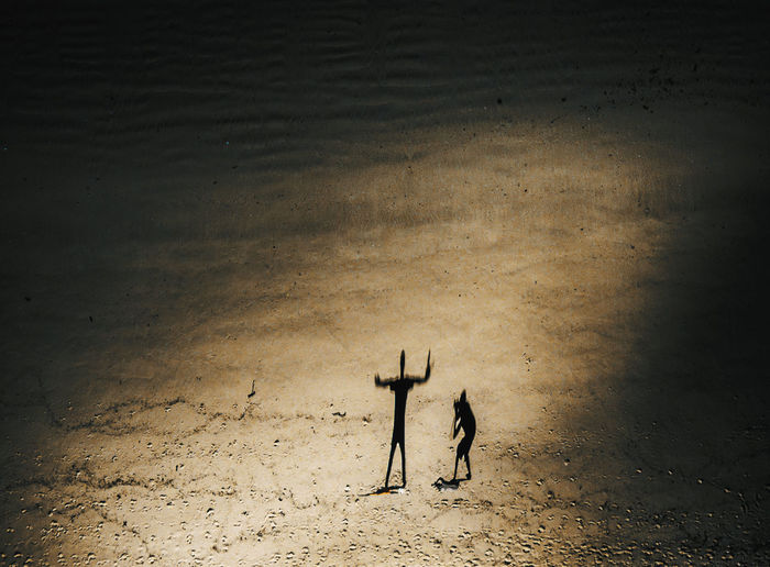Aerial View Of Father And Daughter At Beach