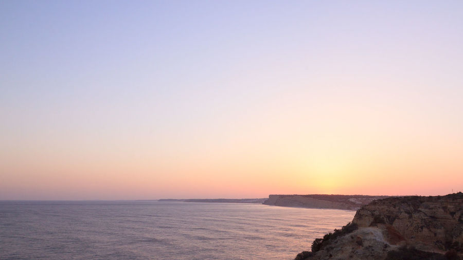 Algarve Beach Beauty In Nature Clear Sky Day Golden Hour Horizon Horizon Over Water Lagos Minimal Minimalism Minimalist Nature No People Outdoors Portugal Scenics Sea Sky Sunset Sunset_collection The Great Outdoors - 2017 EyeEm Awards Tranquil Scene Tranquility Water