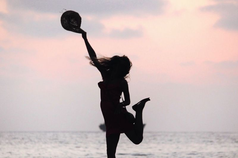 Smile Cyprus Sea And Sky Silhouette Real People Lifestyles Leisure Activity Women Nature Playing Sport