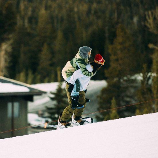 Snow Sports Hitching a ride down the mountain ! Thank you good friend ! California Snowboarding Mammothmountain GoodTimes