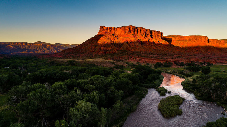 Golden Glow, Gateway Canyon, Phantom 4 Pro America Coast To Coast Dreamland Drone  Exploring New Ground Massive MidWest Beauty In Nature Canyon Gateway Glow In The Dark Golden Hour Impressive Nature Landscape Nature No People Outdoors Redstone River Rock - Object Scenics Sky Sunset Vacationmode First Eyeem Photo