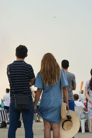 Looking up Airshow Airshowphotography BIAS2016 Bucarest Bucureşti Casual Clothing Couple Leisure Activity Outdoors Real People Rear View Romania Side By Side Sky Fashion Stories