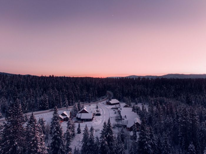 Adventure Hiking Winter Sunset Scenics House High Angle View Beauty In Nature No People Tranquil Scene Nature Clear Sky Outdoors Rural Scene Landscape