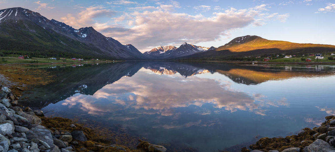 Beauty In Nature Calm Cloud Cloud - Sky Early Morning Idyllic Lake Landscape Lyngen Alps The Great Outdoors - 2017 EyeEm Awards Majestic Mountain Mountain Range Nature Northern Norway Norway Outdoors Reflection Remote Scenics Sky Standing Water Tranquil Scene Tranquility Water
